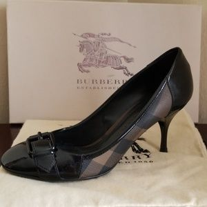 """Authentic Burberry """"Smoked Check 75mm Buckle Pump"""""""